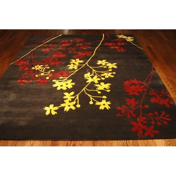 Brown, Red (A) Floral / Botanical Area Rug