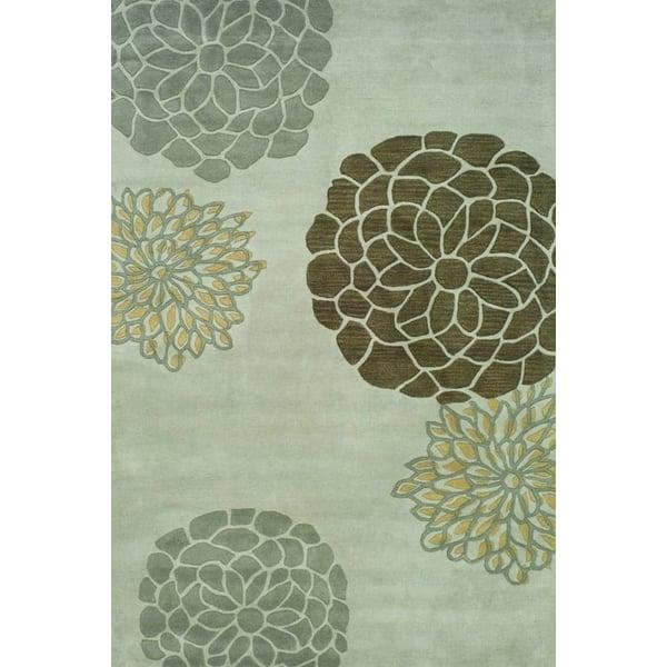 Light Grey (A) Floral / Botanical Area Rug