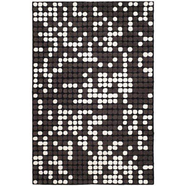 Black, White (A) Contemporary / Modern Area Rug