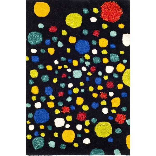 Black, Yellow (A) Contemporary / Modern Area Rug