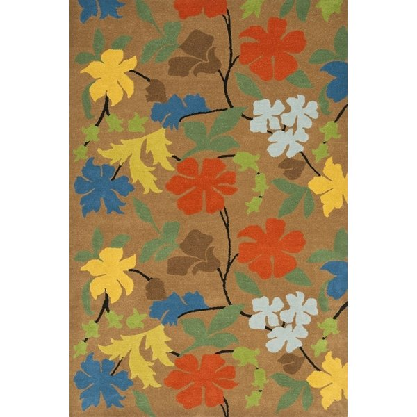 Brown, Green (A) Floral / Botanical Area Rug