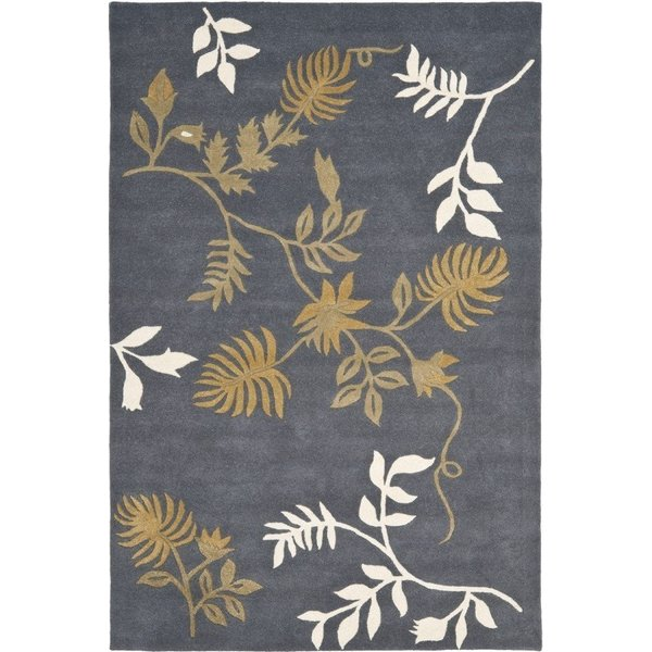 Dark Grey (C) Floral / Botanical Area Rug