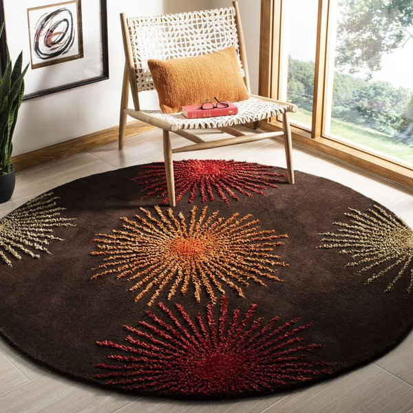 Brown, Red (B) Contemporary / Modern Area Rug