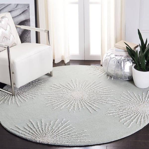 Grey, Ivory (K) Contemporary / Modern Area Rug