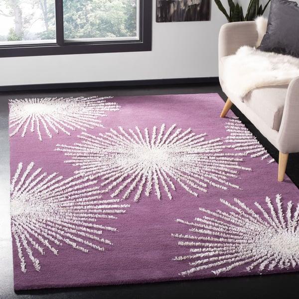 Purple, Ivory (P) Contemporary / Modern Area Rug
