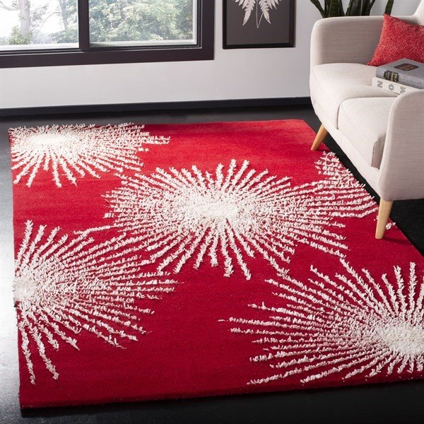 Red, Ivory (L) Contemporary / Modern Area Rug