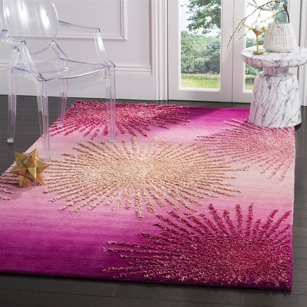 Pink (N) Contemporary / Modern Area Rug