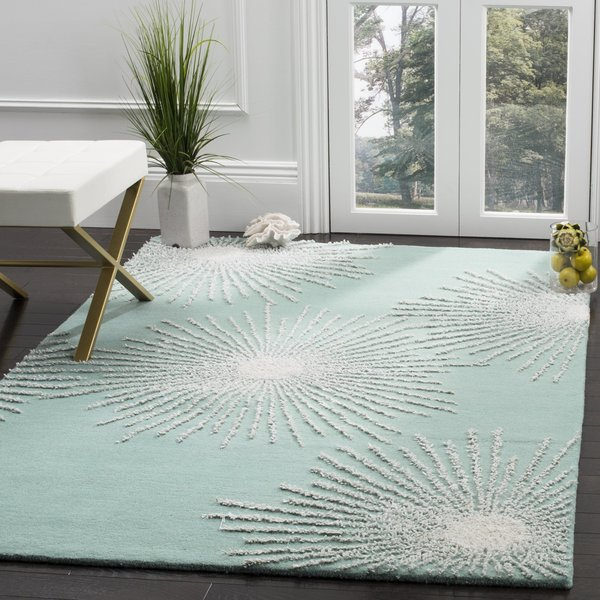 Light Teal (T) Contemporary / Modern Area Rug