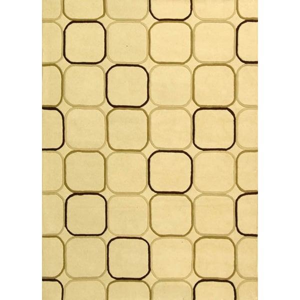 Ivory, Gold (A) Geometric Area Rug