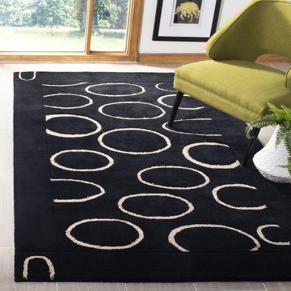 Black, Ivory (A) Contemporary / Modern Area Rug