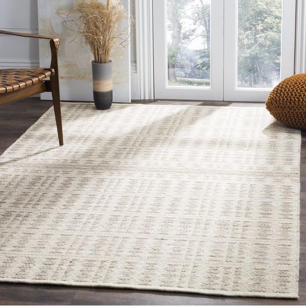 Ivory, Light Grey (A) Contemporary / Modern Area Rug