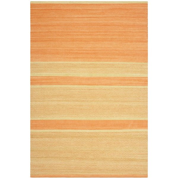 Orange, Lime (D) Striped Area Rug