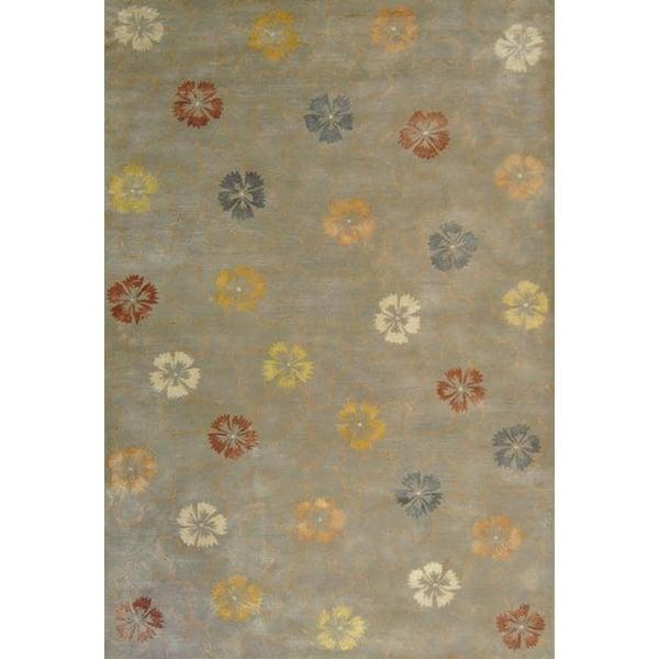 Pearl, Grey (MSR-3267B) Floral / Botanical Area Rug