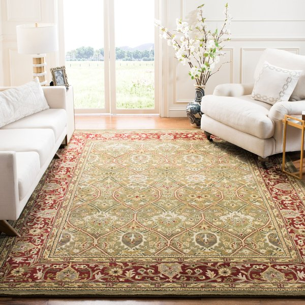 Light Green, Rust (B) Traditional / Oriental Area Rug