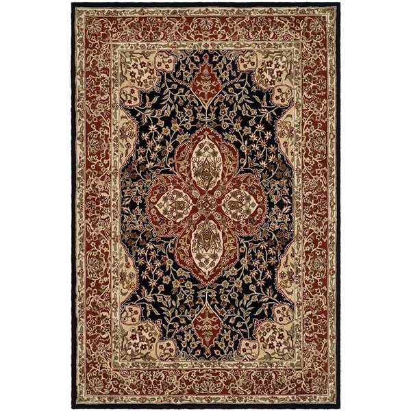 Black, Red (B) Traditional / Oriental Area Rug