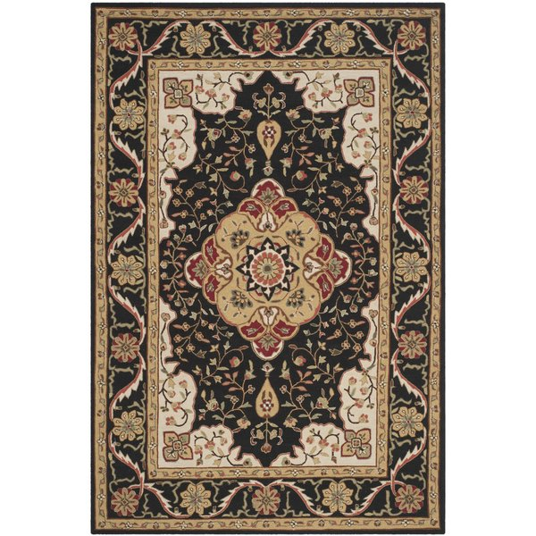 Black, Cream (E) Traditional / Oriental Area Rug