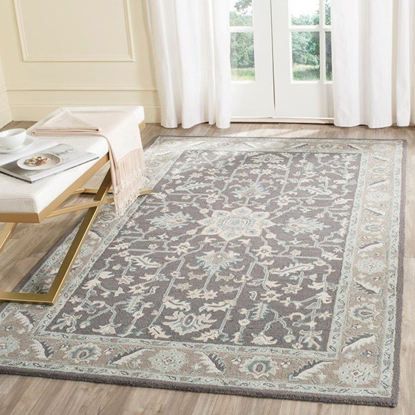 Dark Grey, Light Brown (A) Traditional / Oriental Area Rug