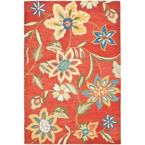 Rust, Blue (A) Floral / Botanical Area-Rugs