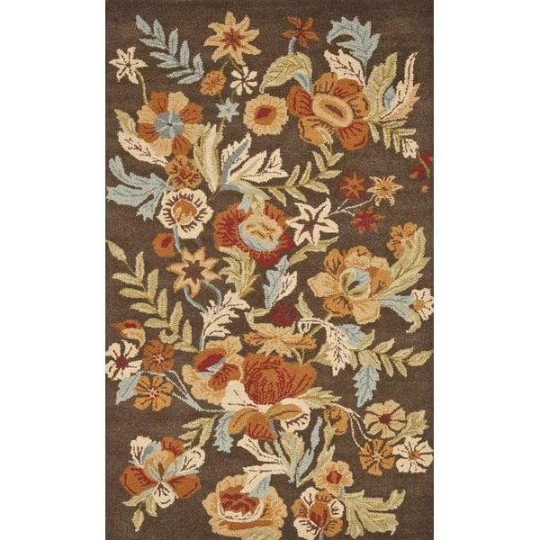 Brown, Rust (A) Floral / Botanical Area Rug