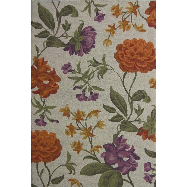Ivory, Green (B) Floral / Botanical Area-Rugs