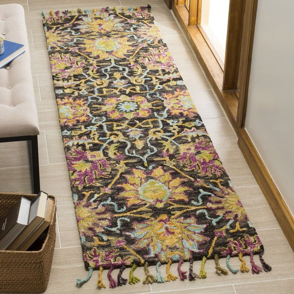 Charcoal, Yellow, Purple (A) Floral / Botanical Area Rug