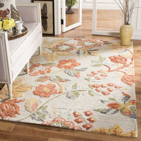 Grey, Red (F) Floral / Botanical Area Rug