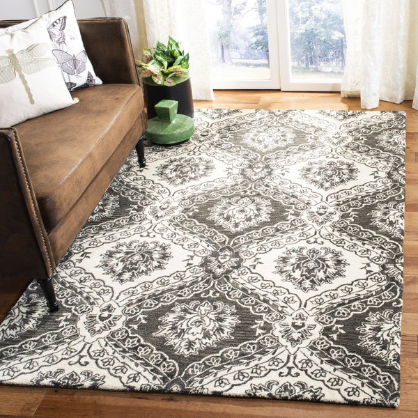 Charcoal, Ivory (H) Floral / Botanical Area-Rugs