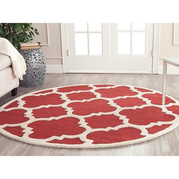 Rust, Ivory (L) Contemporary / Modern Area-Rugs