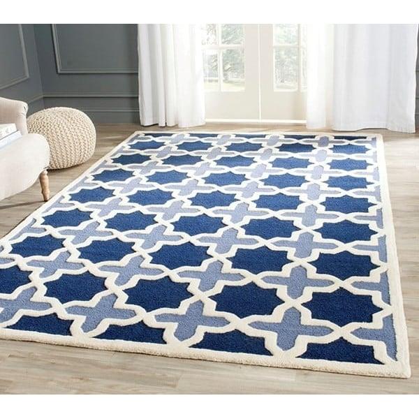 Light Blue, Ivory (A) Contemporary / Modern Area Rug