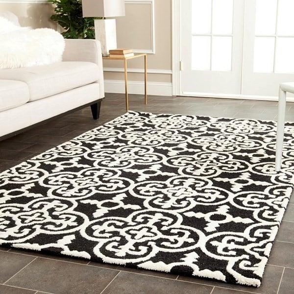 Black, Ivory (E) Contemporary / Modern Area Rug