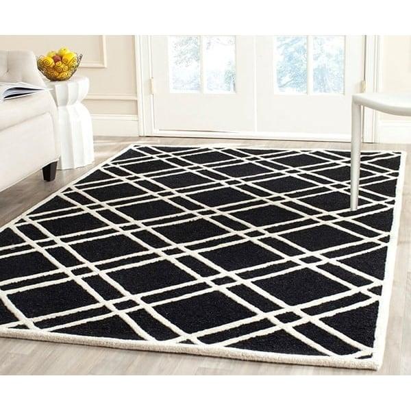 Black, Ivory (E) Geometric Area Rug