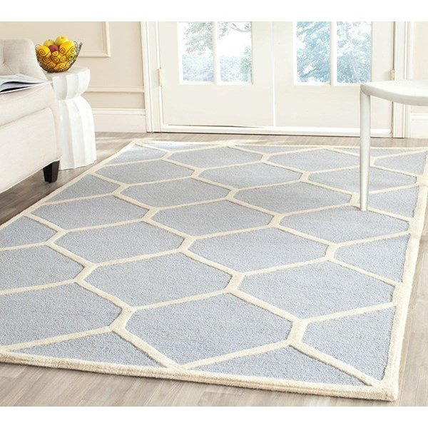 Light Blue, Ivory (A) Contemporary / Modern Area-Rugs