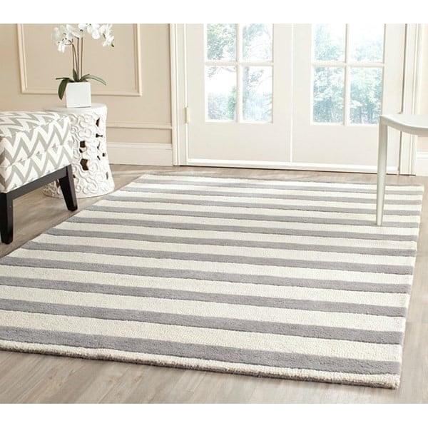 Grey, Ivory (A) Striped Area Rug