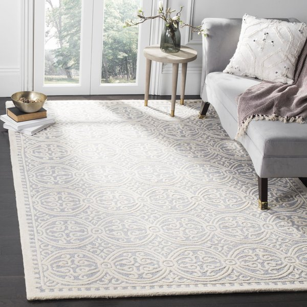 Silver, Ivory (D) Contemporary / Modern Area-Rugs