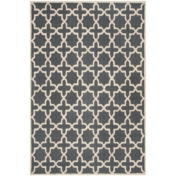Dark Grey, Ivory (X) Contemporary / Modern Area-Rugs