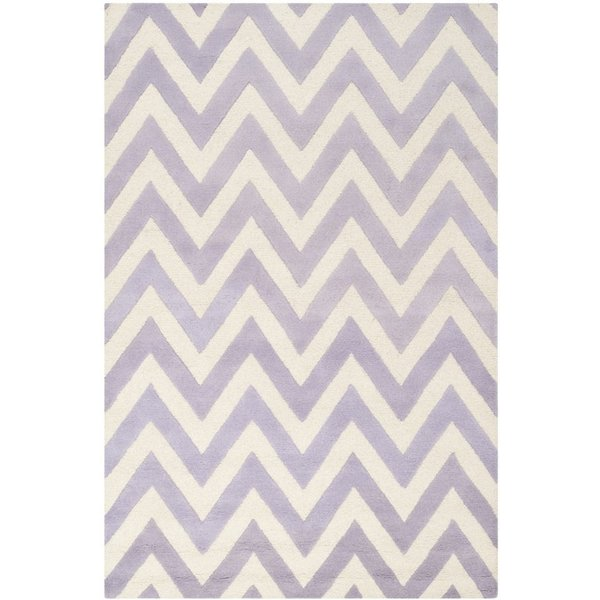 Lavender, Ivory (C) Contemporary / Modern Area Rug