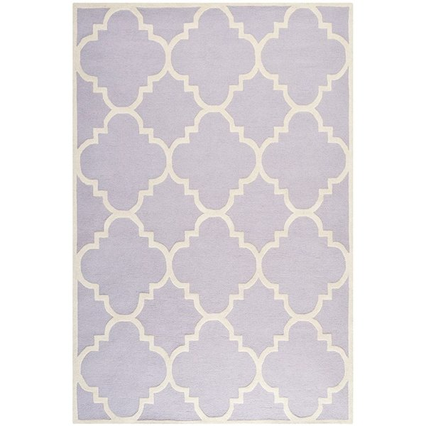 Lavender, Ivory (C) Contemporary / Modern Area-Rugs
