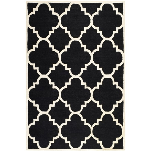 Black, Ivory (E) Contemporary / Modern Area-Rugs