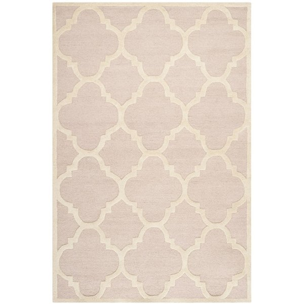 Light Pink, Ivory (M) Contemporary / Modern Area-Rugs