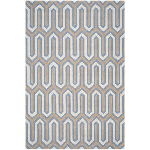 Navy, Grey (M) Contemporary / Modern Area-Rugs