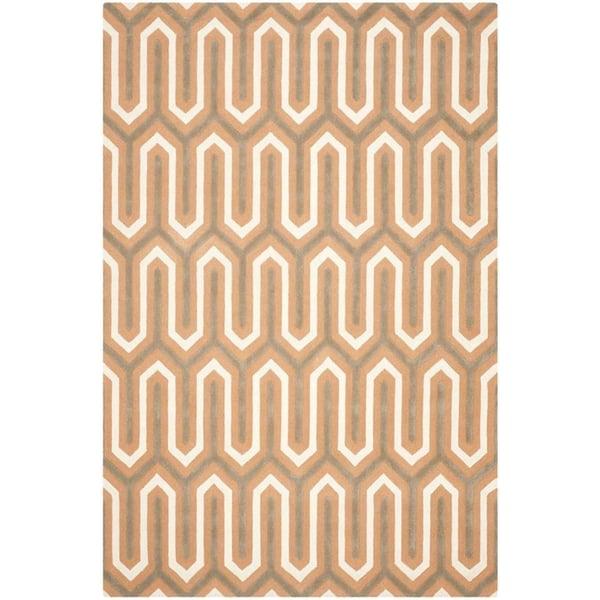 Orange, Grey (Y) Contemporary / Modern Area-Rugs