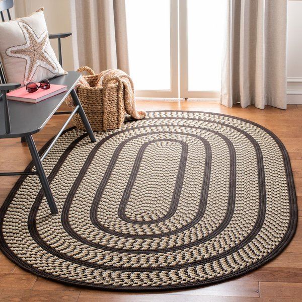 Ivory, Dark Brown (E) Country Area Rug