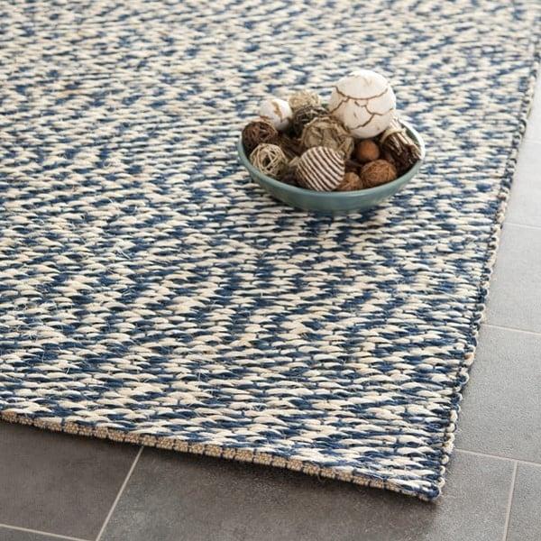 Blue, Ivory (C) Natural Fiber Area Rug