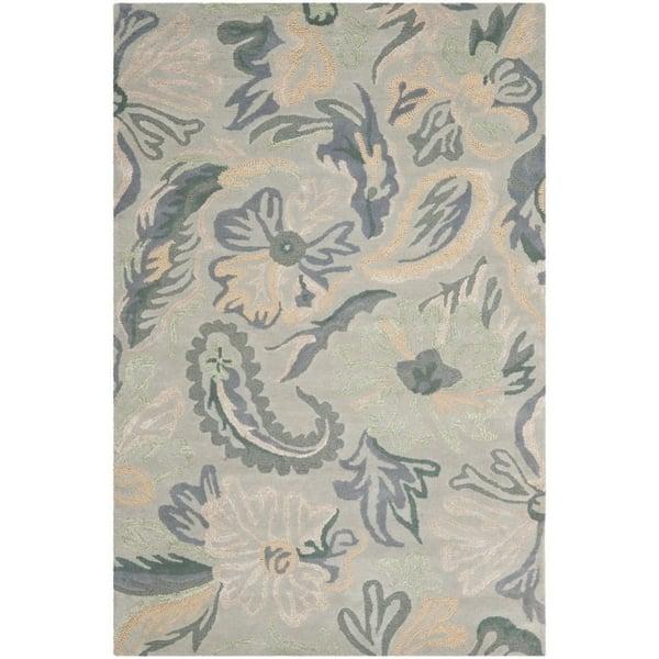 Light Grey, Beige (A) Floral / Botanical Area-Rugs