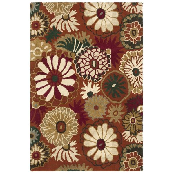 Rust, Ivory (A) Floral / Botanical Area Rug