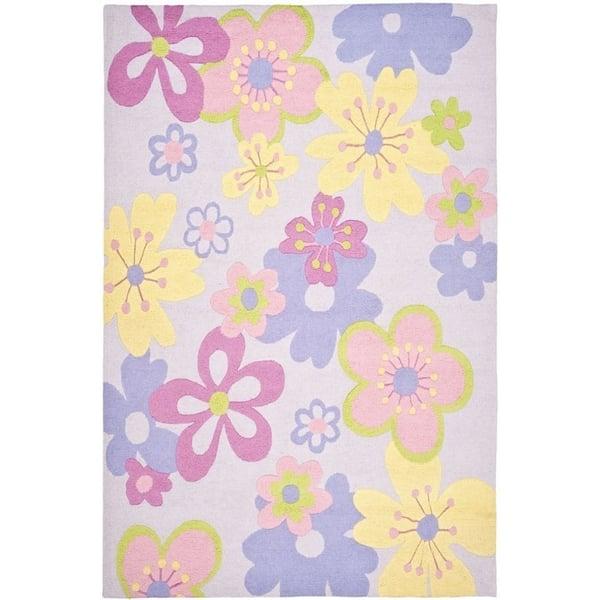 Lilac, Pink (A) Floral / Botanical Area Rug