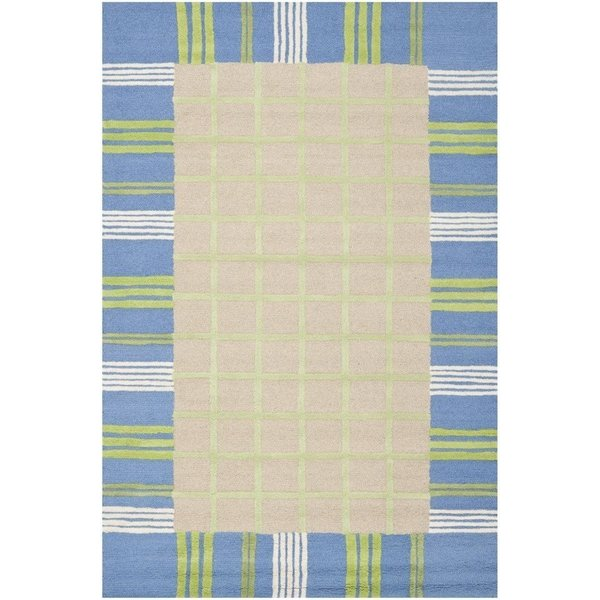 Taupe, Blue (A) Children's / Kids Area-Rugs