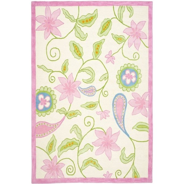 Ivory, Pink (A) Children's / Kids Area-Rugs