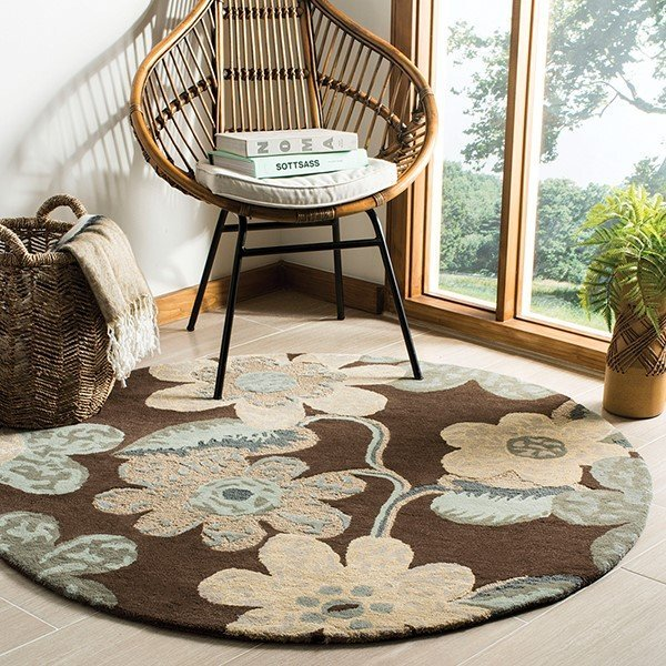 Brown (A) Floral / Botanical Area Rug