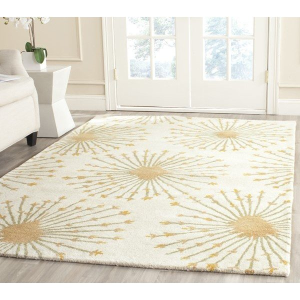 Beige, Gold (A) Contemporary / Modern Area Rug